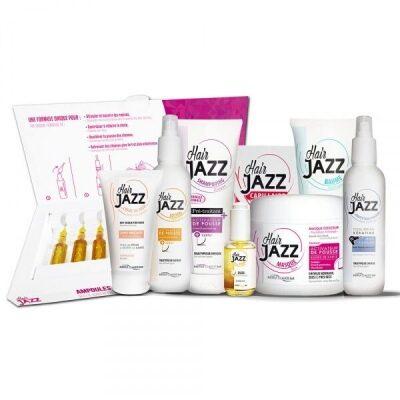 Пълен комплект Hair Jazz: шампоан, лосион, маска, хиалуронов балсам, серум топлинен предпазител,  ампули, крем за коса без измиване и хранителна добавка - ускорява растежа на косата